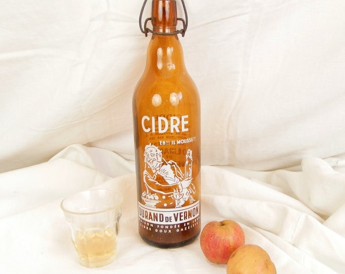 Vintage French Amber Glass Cider Bottle with a Metal and Ceramic Clasp Cap / Normandy Cidre / Retro Vintage Home Interior / French Country