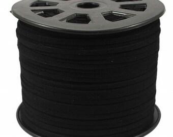 Black Vegan Faux Suede Flat Cord 3mm