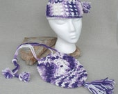Vintage 1970s Purple and Lavender Crochet Hat and Purse