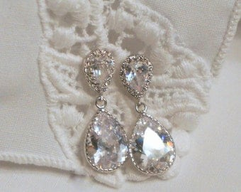 Crystal Bridal Earrings Wedding Jewelry Bridesmaid Earrings Pear Shaped Drop Earrings