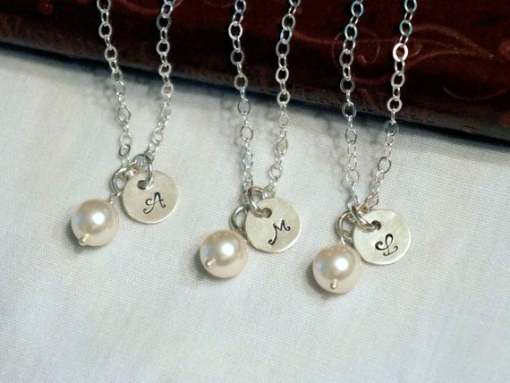 4 Sets Personalized Bridesmaid Gifts Bridal Jewelry Bridesmaid Necklace, Wedding Jewelry Personalized Bridesmaid Jewelry