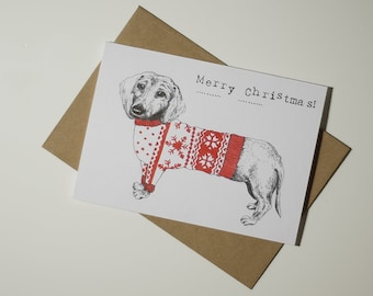 Dachshund// Christmas Jumper// Recycled Xmas Card