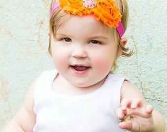 Shabby Baby Headband.Baby Girl Headbands.Baby Headband.Shabby Flower Headband.Shabby Headbands.Shabby Chic.Infant Headband.Newborn Headband