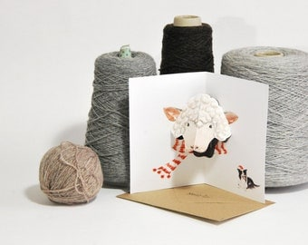 Sheep Wearing Scarf 3D Pop up Christmas Card - Watercolour print - Handmade