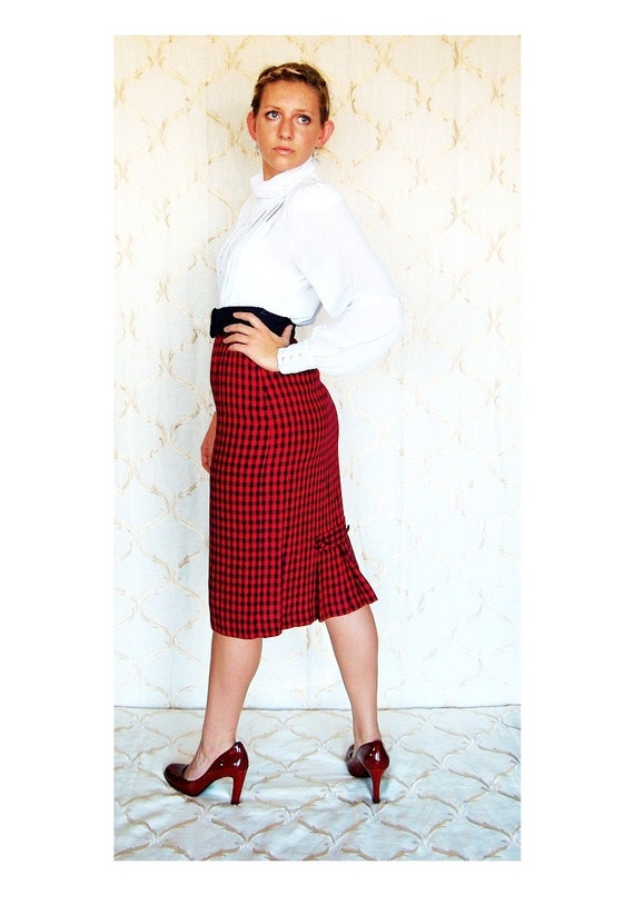 1940's Style Red & Navy Blue Gingham Check High Waist Skirt with Back Kick Pleat Button detail, by Robin Sinkler, size 8