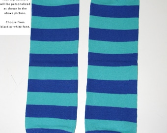 BLUE STRIPES baby leg warmers.  Great for babies, toddlers, and young kids