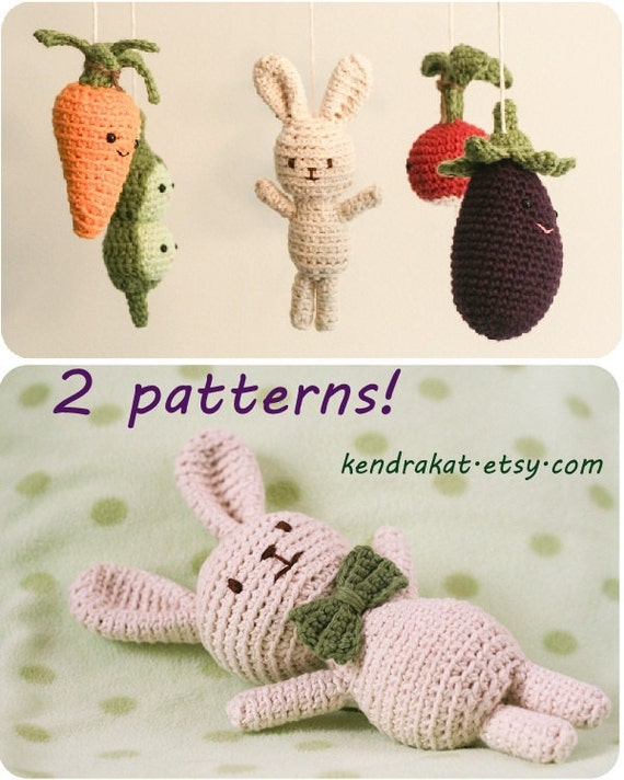 2 Crochet Patterns:  Little Veggie Mobile & Roux the Rabbit