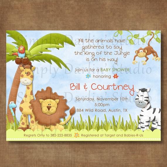 jungle animals digital baby shower birthday invitation boy or girl