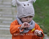 """Owl Hat Knitting Pattern """"Chouette"""" (Toddler, Child, Adult sizes)"""