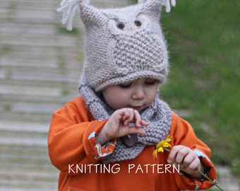 "Owl Hat Knitting Pattern ""Chouette"" (Toddler, Child, Adult sizes) - English, French & Russian"