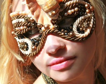 Masquerade Mask Venetian Style With Pink Freshwater Pearls -  Shallow Tide