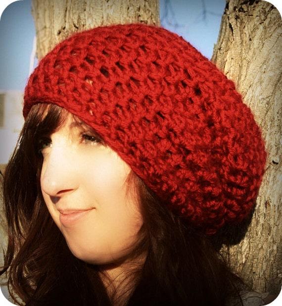 Crochet Beret Hat Pattern Easy : Easy Super Slouch Hat Crochet PDF pattern Beret crochet