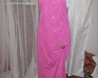 Pink evening gown.