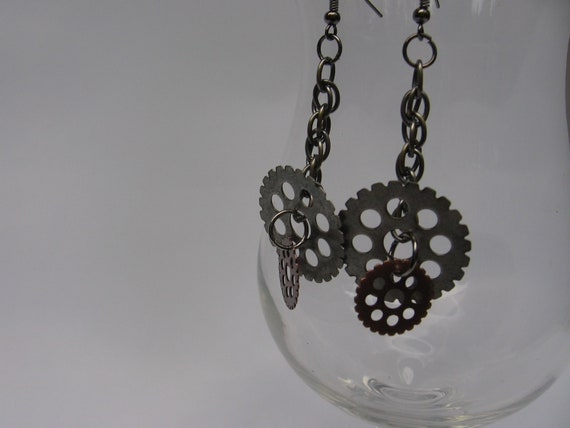 Steampunk Dangle Gear Earrings