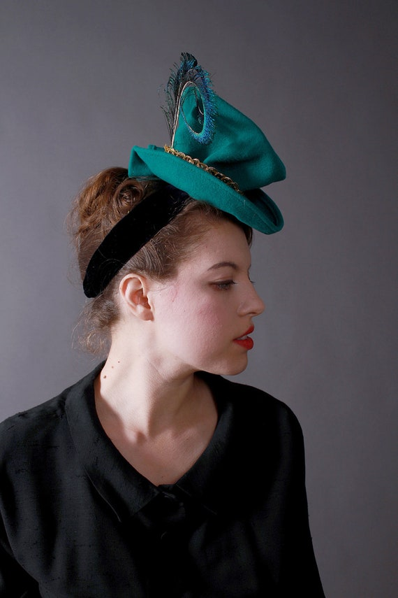 SALE / In-Stock: 1940s-Style Wool Felt Tilt Topper Hat with Gold Sequined Braid and Feathers