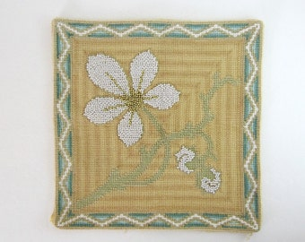 Flower Needlepoint Art - Beaded Embroidery - White Pearl Flower Embroidery - Yellow Home Decor - Turquoise Ombre Stripe - Square Fiber Art