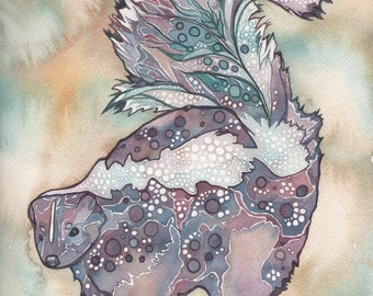 Skunk 5 x 7 print of hand painted detailed watercolour artwork in whimsical purple mauve rust turquoise earth tones