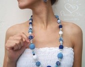 Exclusive LONG NECKLACE Crochet Blue White Beaded Necklace, Trendy Sailor Necklace Seed bead Marine Textil jewelry Christmas GIFT Necklace