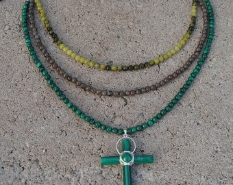 Multistrand Necklace, Gemstone Necklace, Multi stone Necklace and Malachite Cross, OOAK