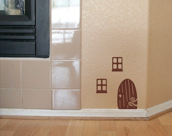 Fairy Elf Door Vinyl Wall Decals with Windows