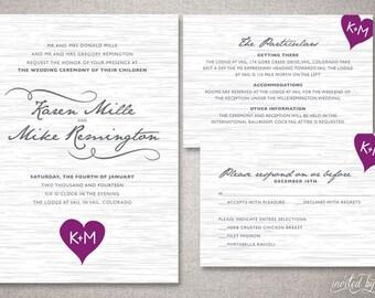 "Rustic Tree Bark ""Karen"" Wedding Invitations Suite - Whimsical Woodland Heart Invitation - Custom DIY Digital Printable or Printed Invite"