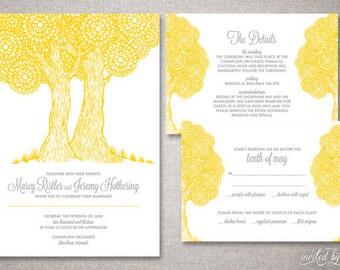 "Whimsical Tree Custom ""Marcy"" Wedding Invitation Suite - Rustic Shabby Chic Invitations - DIY Digital Printable or Printed Invite"