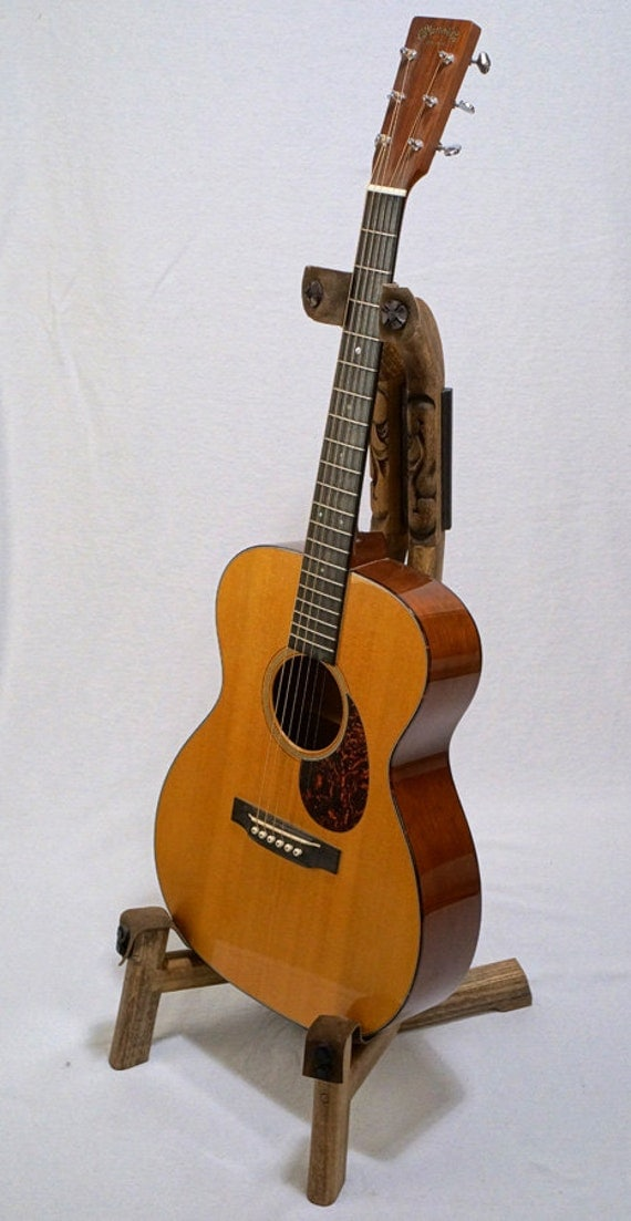 Handcrafted Wooden Guitar Stands ~ Handmade wooden guitar stand with hand carved western detail