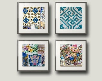 Gaudi, Barcelona, Square print, Wall art set, Spanish Tiles, Travel photography, Art Nouveau