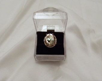 Incredible Vintage 1980s Abalone Ring in Goldtone with Clear Rhinestone Accents