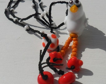 Lampwork Chicken Necklace, Braided Beaded Cording, Big Feet, Artisan Handmade SRA LETEAM Glassymom