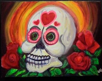 Hearts Sugar Skull Roses Original Dia de los Muertos Acrylic Gallery Wrap Canvas Painting by Candace Byington