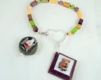 BABY GUINEA PIG Charm Bracelet - Yellow Olive Green and Amethyst Pressed Glass Beaded Bracelet with Polymer Clay Photo Charms