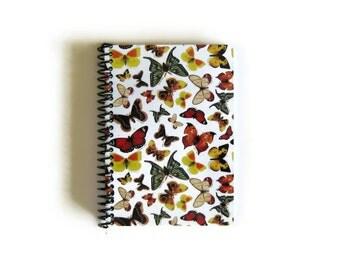 Butterflies Paper Pocket Spiral Notebook Back to School Garden Planner, Blank A6 Cute Notebooks, Sketchbook, Spiral Bound Journal, Ciaffi