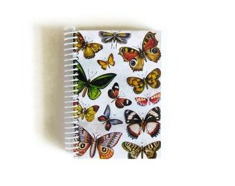 Butterflies A6 Spiral Notebook, Spiral Bound Writing Journal, Sketchbook, Gifts Under 15, Small Paper Garden Notebook, Natural History