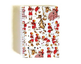 Red Riding Hood Spiral Notebook, Writing Journal, Blank Sketchbook, Back to School Spiral Bound Small 5x7 Inches Cute Baby Shower Gift