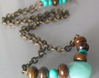 Amazonite and bronzite earthy necklace