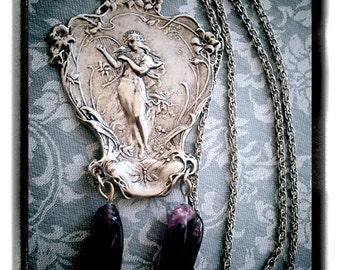 Printemps - Art Nouveau Alphonse Mucha Printemps Vintage Amulet with Antique Czech amethyst glass drops