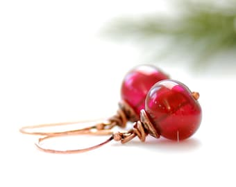 Fuchsia Pink Earrings, Fuchsia Wedding, Hot Pink Hollow Glass, Sterling Silver and Copper, Christmas - Sugarplum