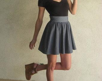 Blue High Waist Gathered Skirt