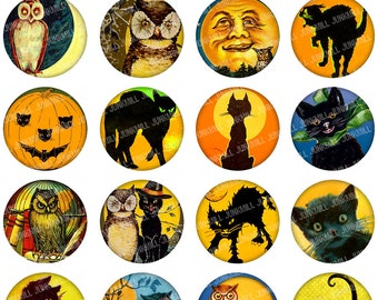 "FULL MOON - Digital Printable Collage Sheet - Vintage Black Cats, Jack-o-Lanterns & Halloween Owls, 1"" Circles (25 mm) / 1.25"" Circles"