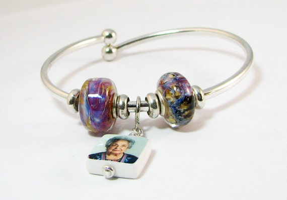 Sterling Bangle Bracelet with Custom Mini Photo Charm - C4B4a