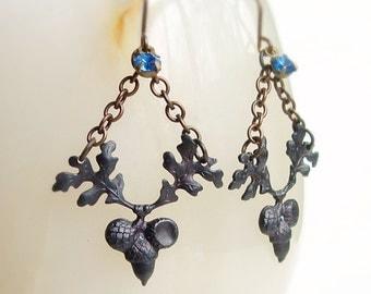 Oak Leaf Earrings Antiqued Black Brass Acorn Oak Tree Woodland Earrings Black Metal Jewelry Nature Woodland Oak Leaf Jewelry
