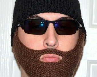 Beard Hat, Knitted Beard Beanie, Adult Size, All Colors, Bearded Beanie, Bearded Hat, Bearded Cap