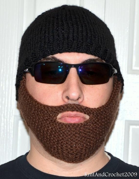 Men Scarf Knitting Patterns : Beard Hat Knitted Beard Beanie Adult Size by KnitAndCrochet2009