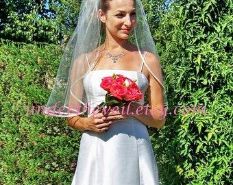 Elbow Wedding Veil,Simple Wedding Veil,Satin Wedding Veil, Elbow Veil,Short Wedding Veil,1 Tier Veil, Ivory Veil,White Veil,Ribbon Edge Veil