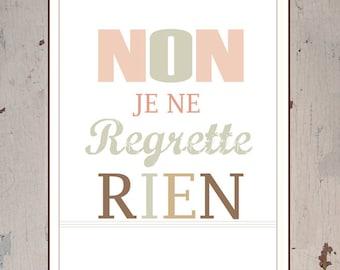 French Quotes About Friendship Amusing Non Je Ne Regrette  Etsy