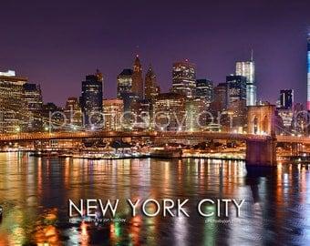 New York City NYC Skyline NIGHT Brooklyn Bridge Lower Manhattan Panoramic Photo Poster Cityscape