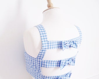 Gingham Crop Top, Open Back Top, Rockabilly Bra Top, Bow Back Top, Gingham Bra Top, Cage Back Crop Top, Size: XS - L Choice of Colours