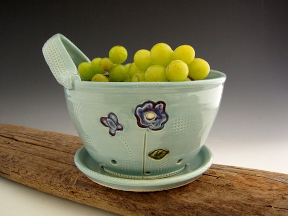 Pottery Berry Bowl in Vintage Turquoise with Drain Tray -  READY TO SHIP  - by DirtKicker Pottery