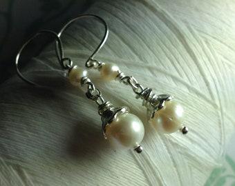 Titanic Pearls - white pearl earrings / pearl drop earrings / pearl earrings / dangle earrings / bridal earrings / wedding jewelry